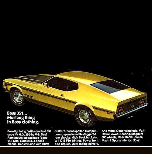 1971 Mustang Boss Brochure Mustang Ford Mustang American Dream