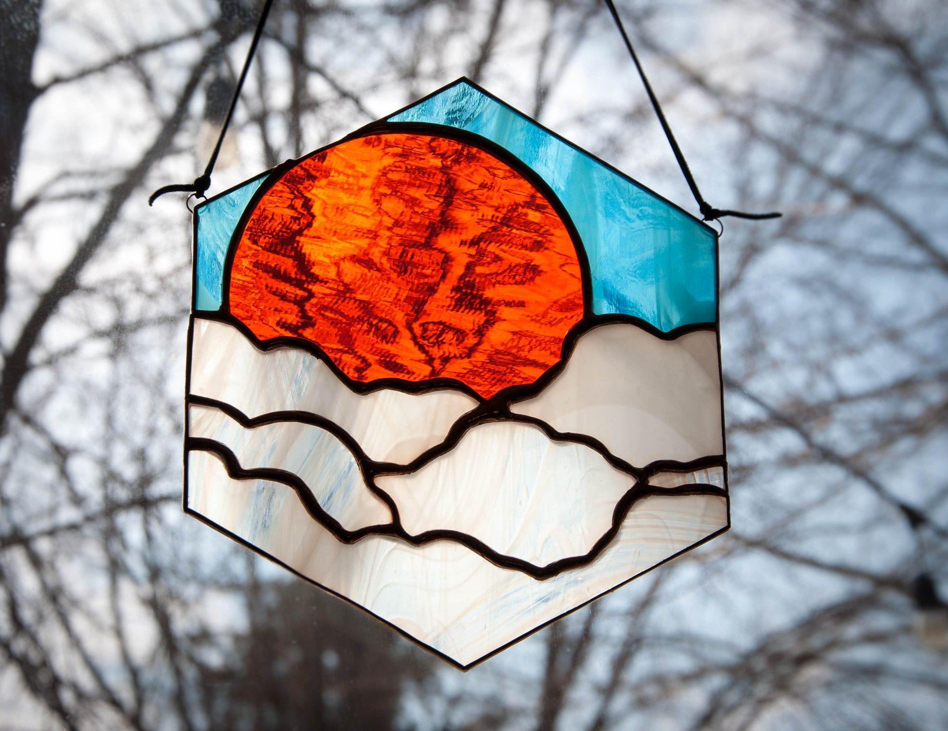 Sun In The Clouds Hexagon Shaped Suncatcher In 2020 Glass Window
