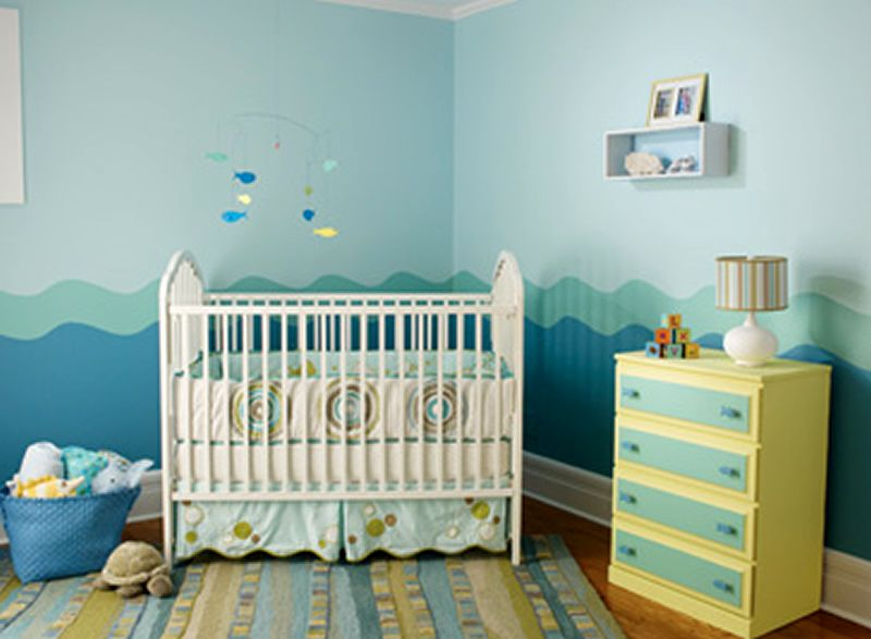 Baby boys nursery room paint colors theme design ideas Colors for toddler boy room