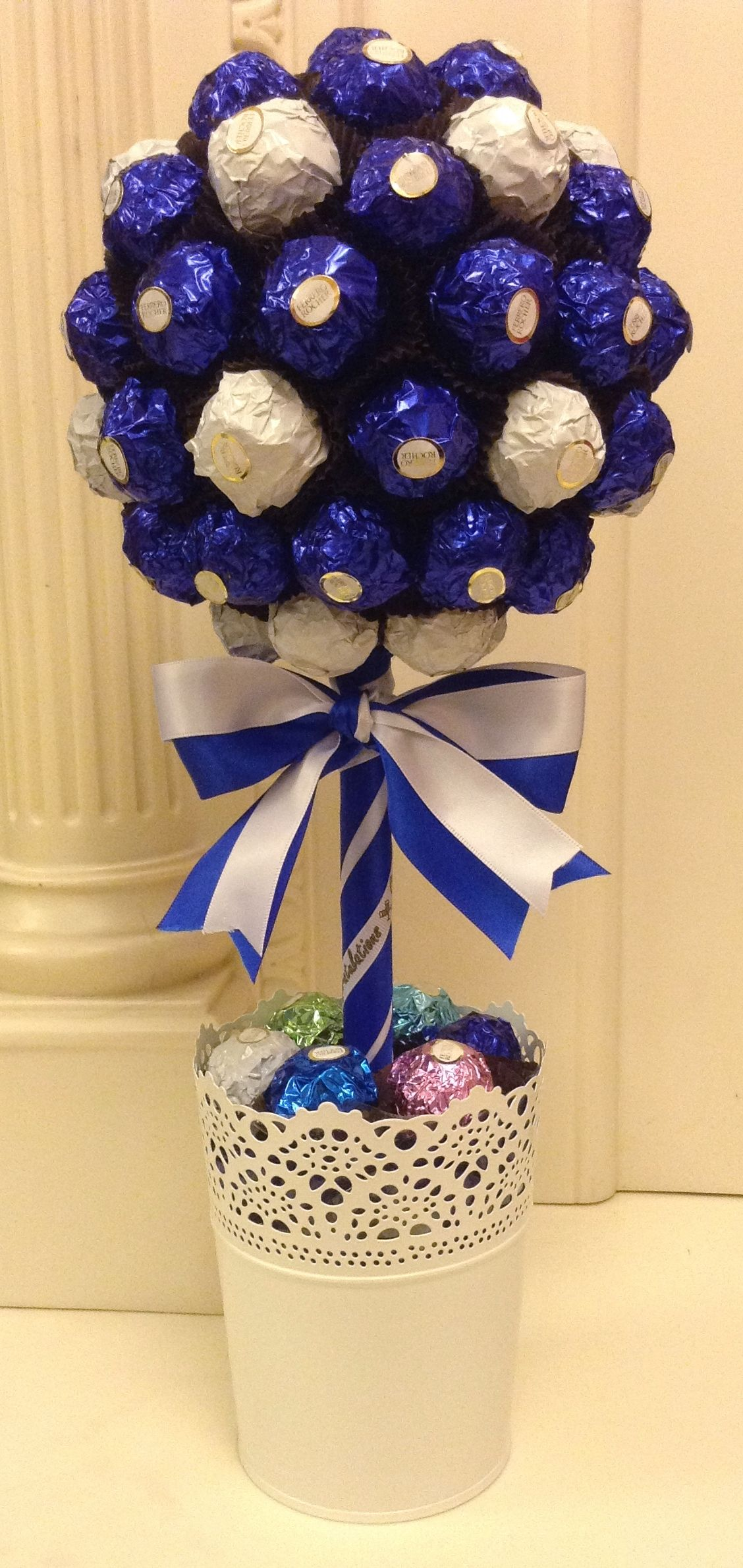 Blue and white ferrero rocher candy tree other colours available blue and white ferrero rocher candy tree other colours available candytreescambridge izmirmasajfo Images