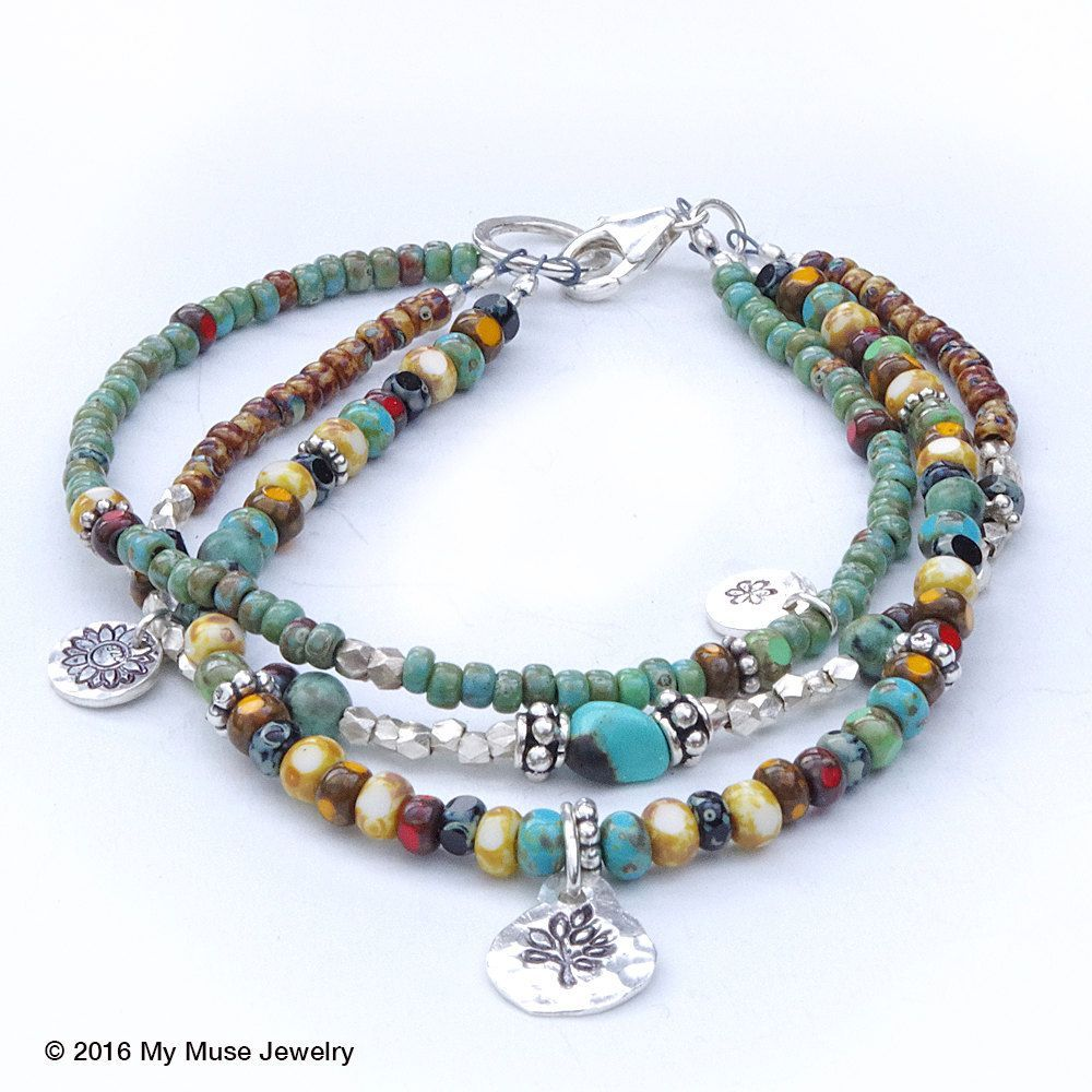 Seed Bead Bracelet Bohemian Bracelet Boho Bracelet Turquoise Bracelet multi strand beaded bracelet Hill Tribe Bracelet