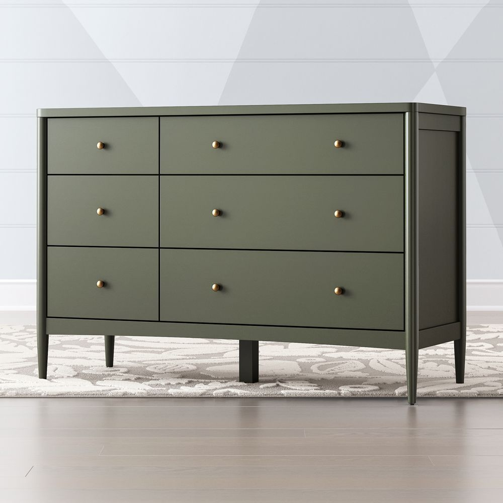 Kids Hampshire 6-Drawer Olive Green Dresser images
