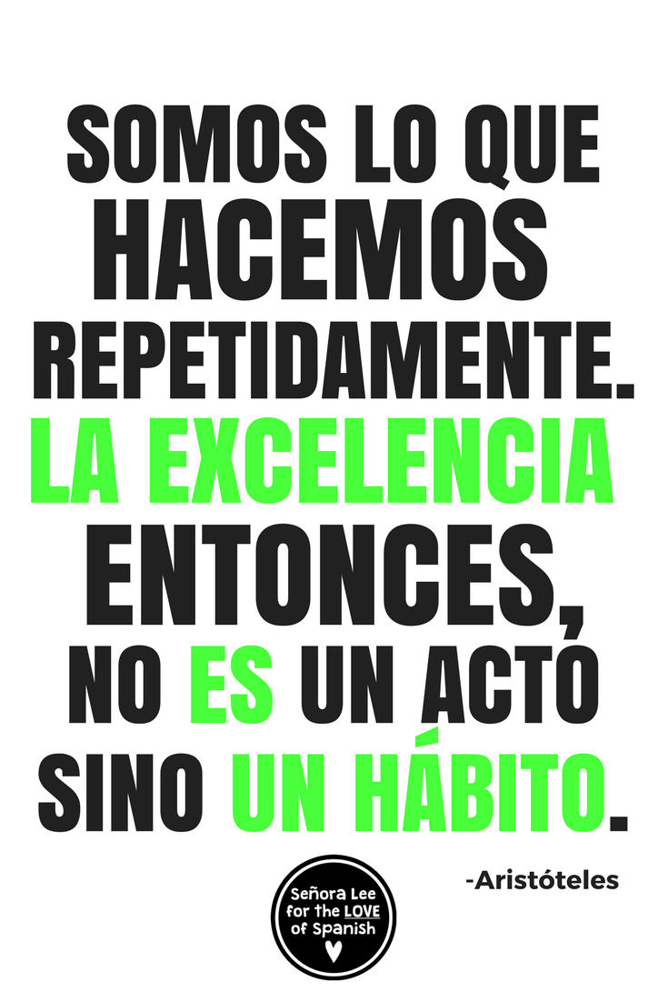 Poster In Spanish Growth Mindset Poster Spanish English Excellence Is A Habit