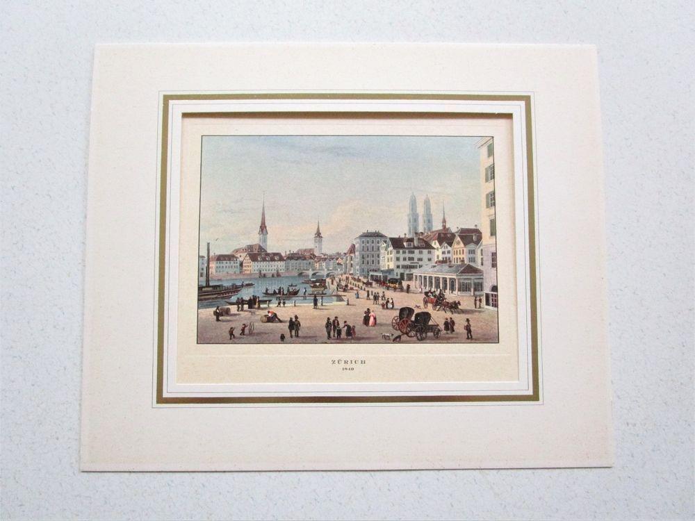 Zurich Switzerland 1840 Art Print Matted Stehli Freres Numbered Vintage Color