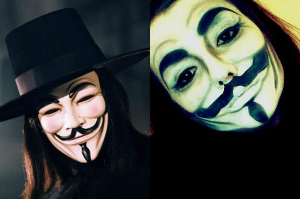 V For Vendetta Face Painting Character Makeup