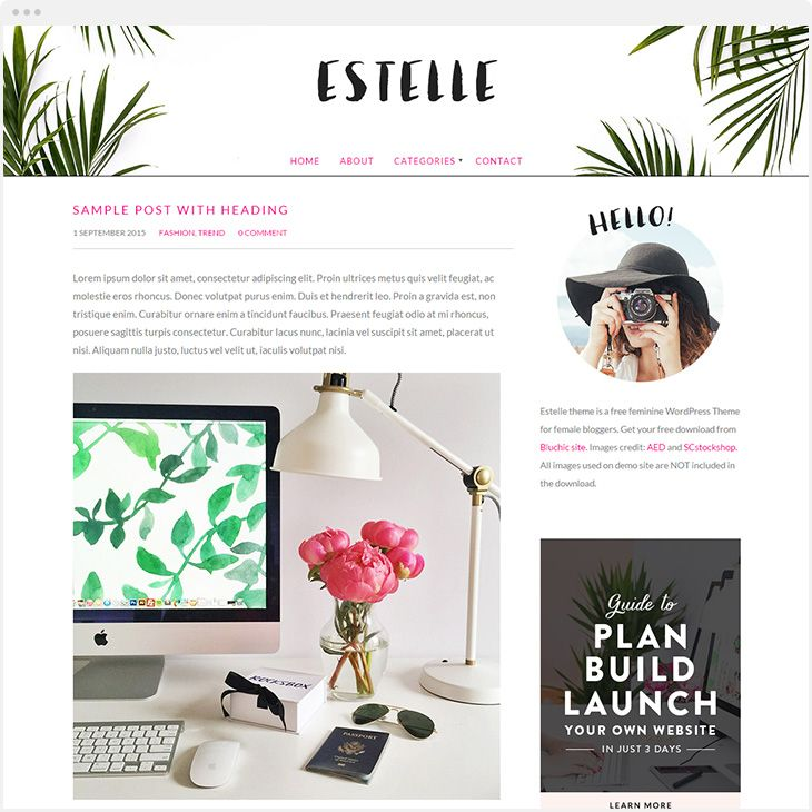 Feminine WordPress Themes | Leaf images, Wordpress and Template