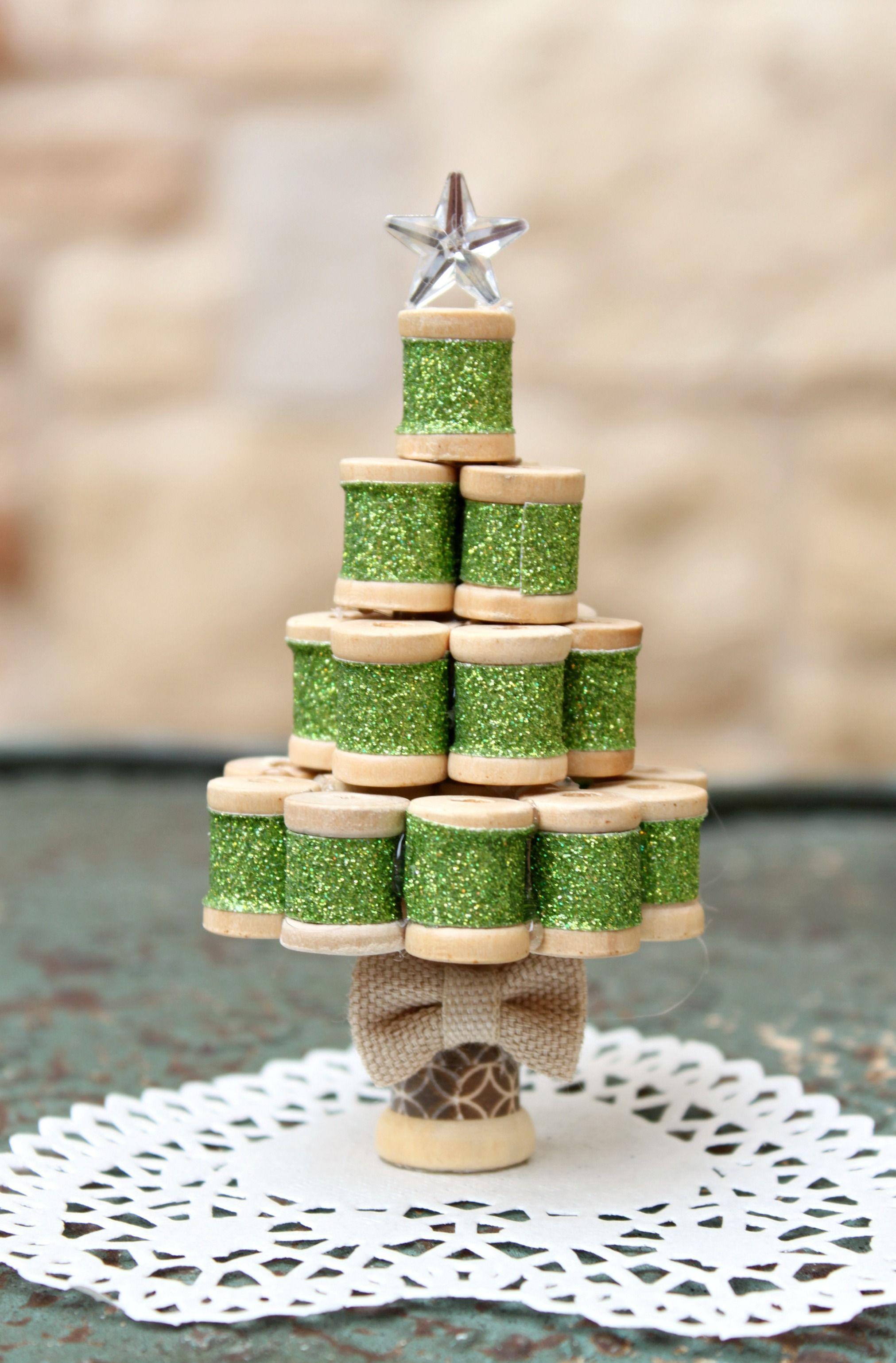 DIY Miniature Spool Christmas Tree Wooden christmas