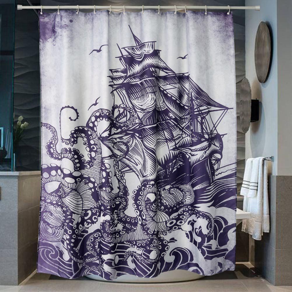 Wimaha Fabric Shower Curtain Sail Boat Waves And Octopus
