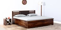 Buy Clancy Hydraulic King Size Bed with Storage in Provincial Teak Finish by Woodsworth  Online: Shop from wide range of Beds Online in India at best prices. ✔Free Shipping✔Easy EMI✔Easy Returns