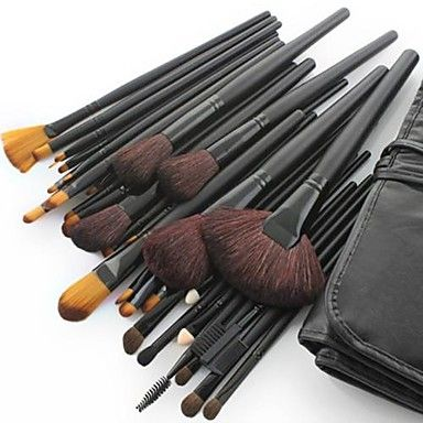 32PCS Professional Goat Hair Black Handle Makeup Brush With Free Case – EUR € 17.99