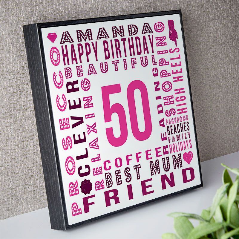 50th Birthday Gift For Her Of Personalised Age Square Print Box Frame Barola Shades Option