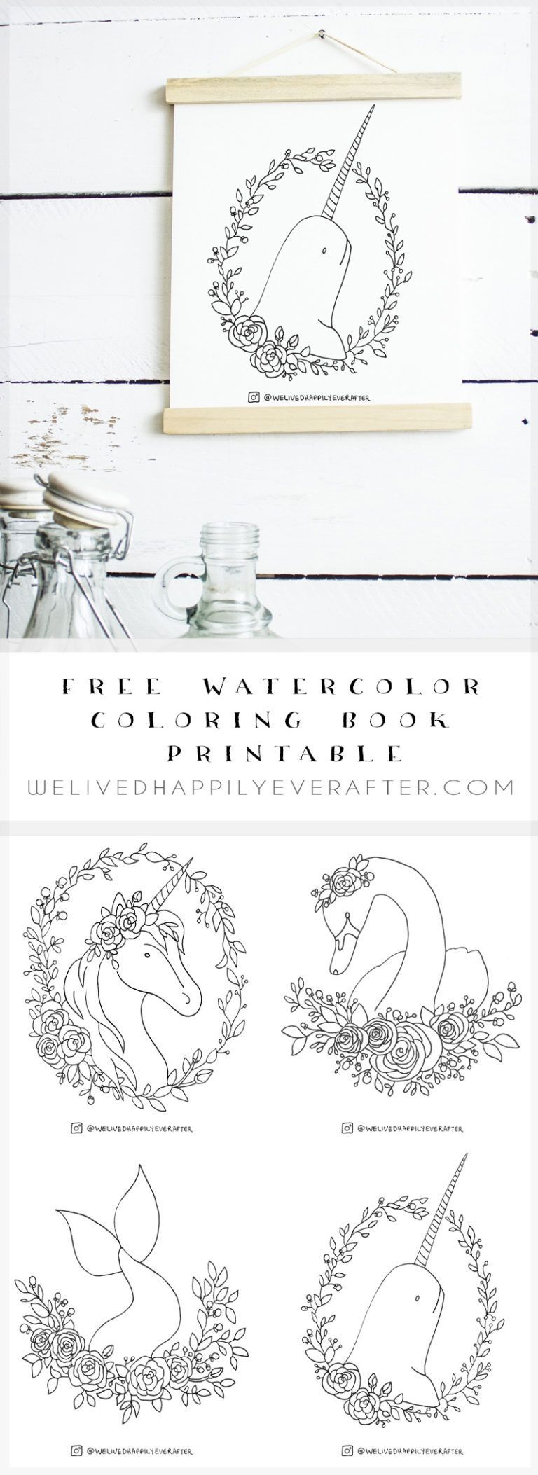 Free Printable Watercolor Adult Coloring Book Sheets Magical
