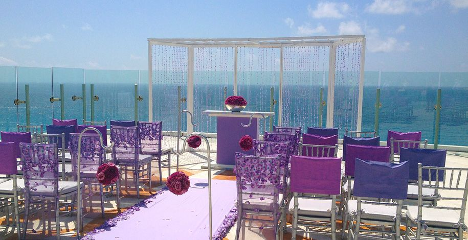 Beautiful Luxe Lavender Wedding Ceremony Decoration At Beach Palace In Cancun Mexico Resorts