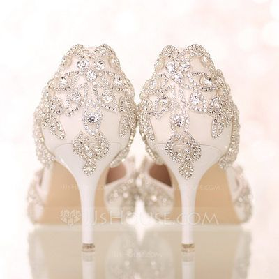 Us 60 00 Women S Leatherette Stiletto Heel Closed Toe Pumps Sandals With Rhinestone Jj S House Rhinestone Wedding Shoes Wedding Shoes Heels Wedding Shoes Sandals Heels