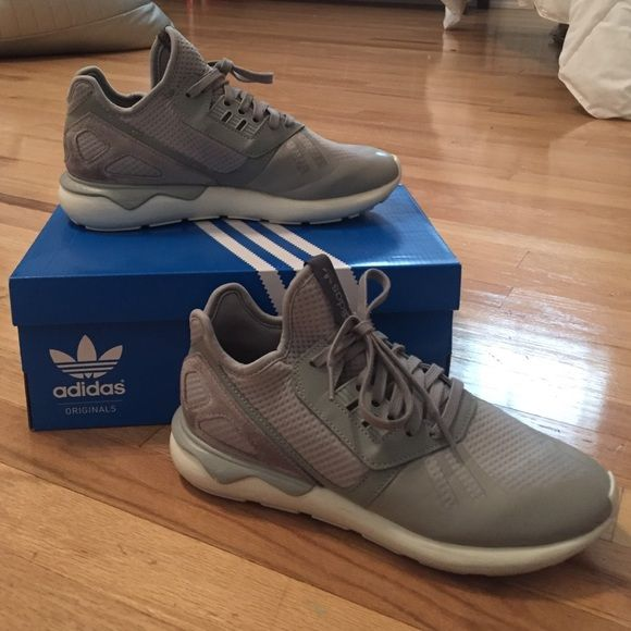 Gray Adidas Tubular Runners Gray tubulars. Worn 2 times. Come with original  box.