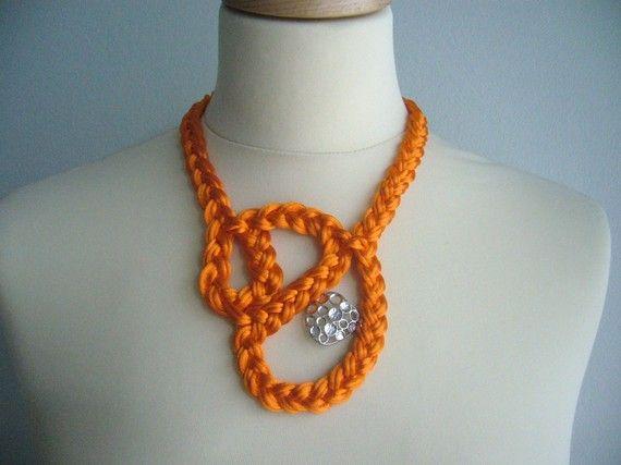 Orange braided necklace $24 from Etsy