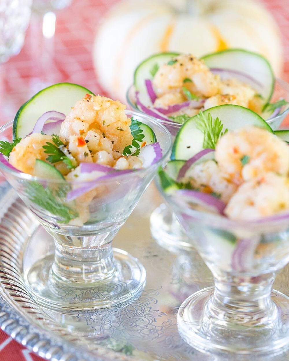 My new obsession this shrimp scampi ceviche! Grab the recipe on Pizzazzerie.com y'all! Also I'm only eating food served in mini martinis from now on.  #pizzazzerierecipes