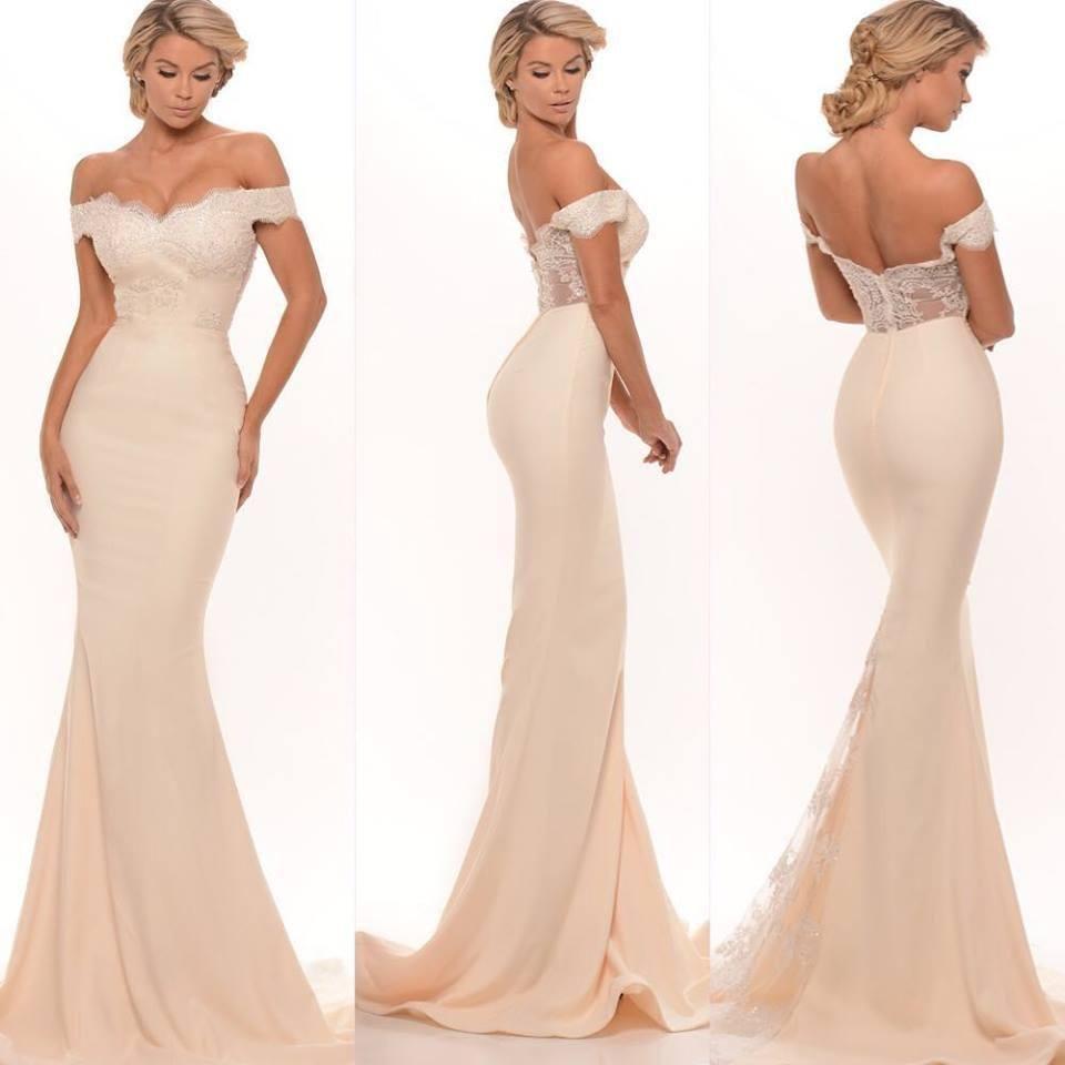 nowe suknie druhna sexy syrenka off shoulder lace aplikacje