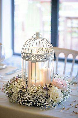 White Birdcage With Floral Arrangement Shabby Chic Wedding Decor Bird Cage Centerpiece Chic Wedding Decor