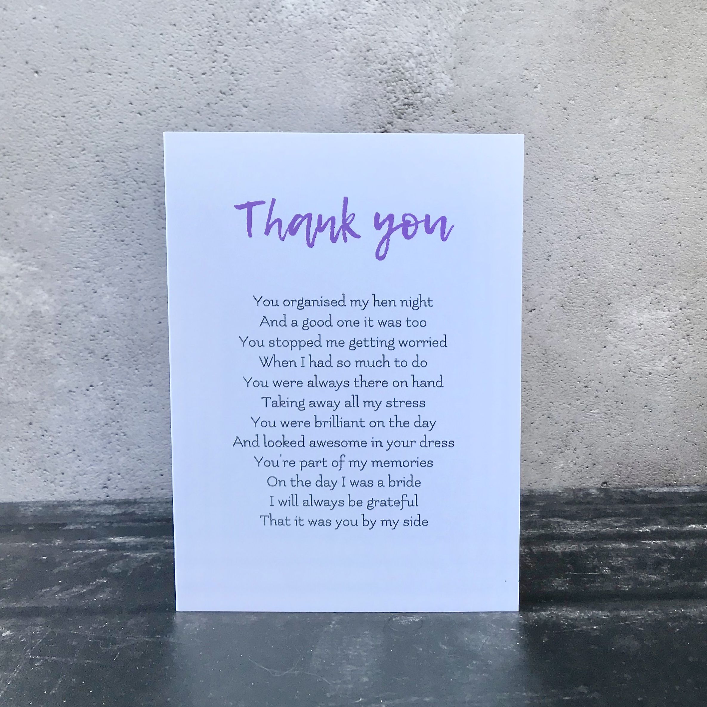 Bridesmaid Gift Card To My Bridesmaid Thank You Card Wedding Thank You Cards To My Bridesmaid on my Wedding Day Card Card For Bridesmaid