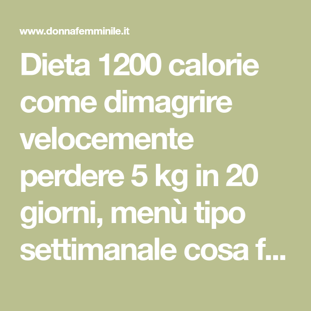 non perdere peso sulla dieta 5 20