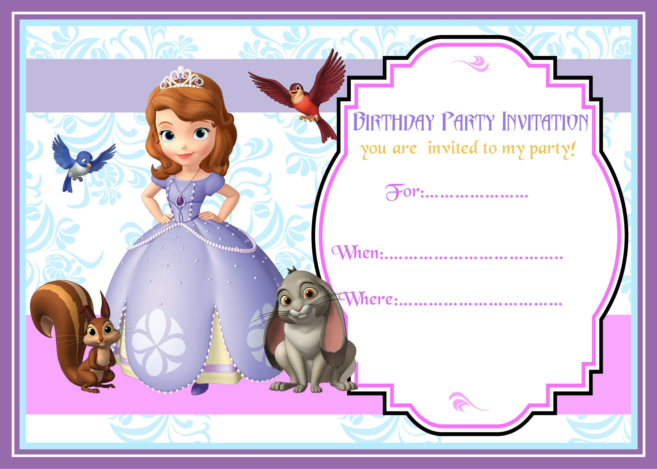 Holidays And Events Pinterest Events - Sofia the first party invitation template