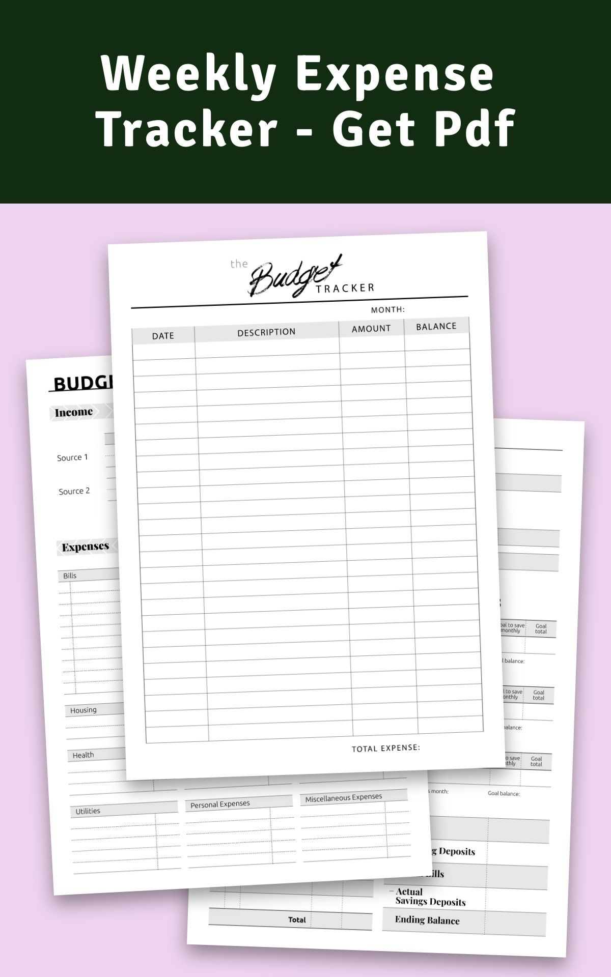 Weekly Expense Tracker Get Pdf in 2020 Budget planner