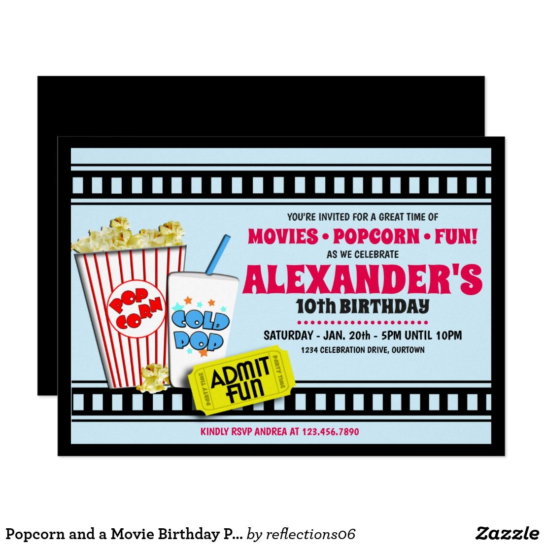 Boy\'s Popcorn and a Movie Birthday Party Invitation | Birthday ...