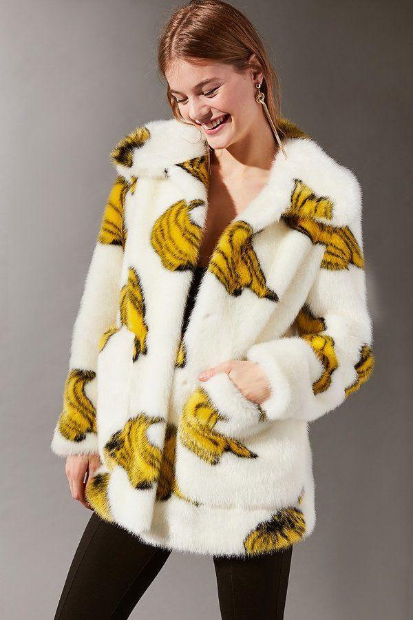 965ffabf82d1 Jakke Tammy Bananas Faux Fur Coat