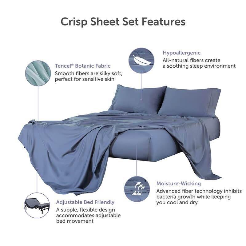 Crisp Hypoallergenic Tencel Lyocell Sheets Bed King Size