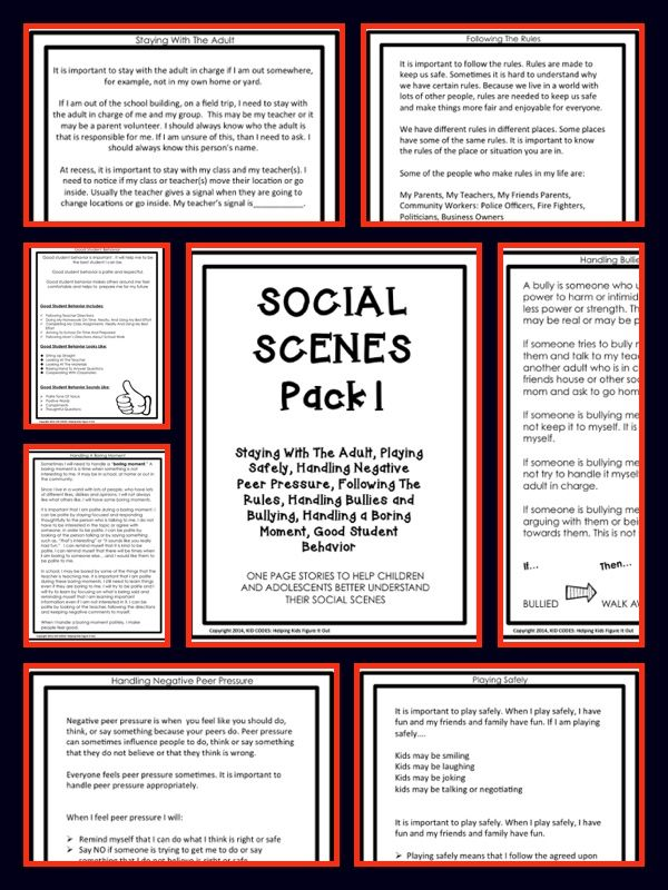 SOCIAL STORIES For Upper Elementary to Middle School {10 One