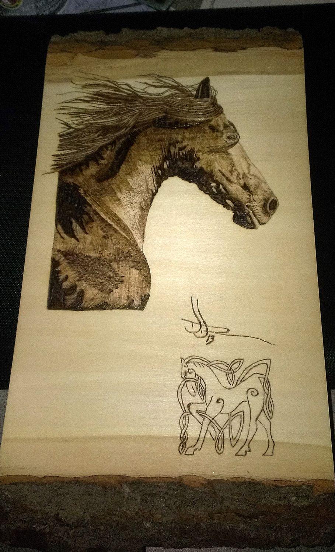 """""""Stallion 1"""" woodburning, wood burning, pyrography"""