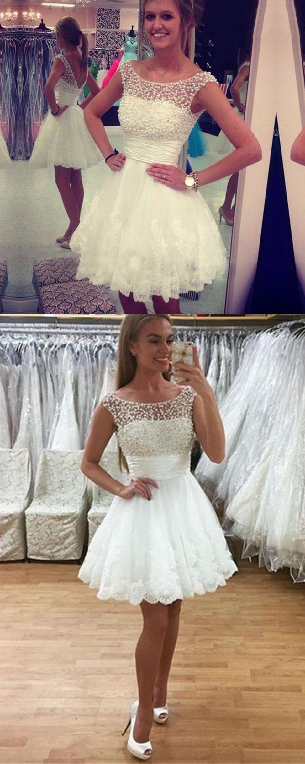 gorgeous mini white beading homecoming dress scoop neckline