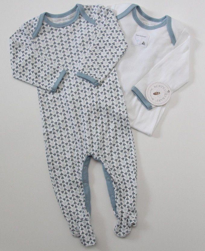 4b5b09bfd207 Burt's Bees Baby Boy Footed Sleeper 2 Pack ~Blue & White ~ Organic Cotton ~  #BurtsBeesBaby #OnePiece