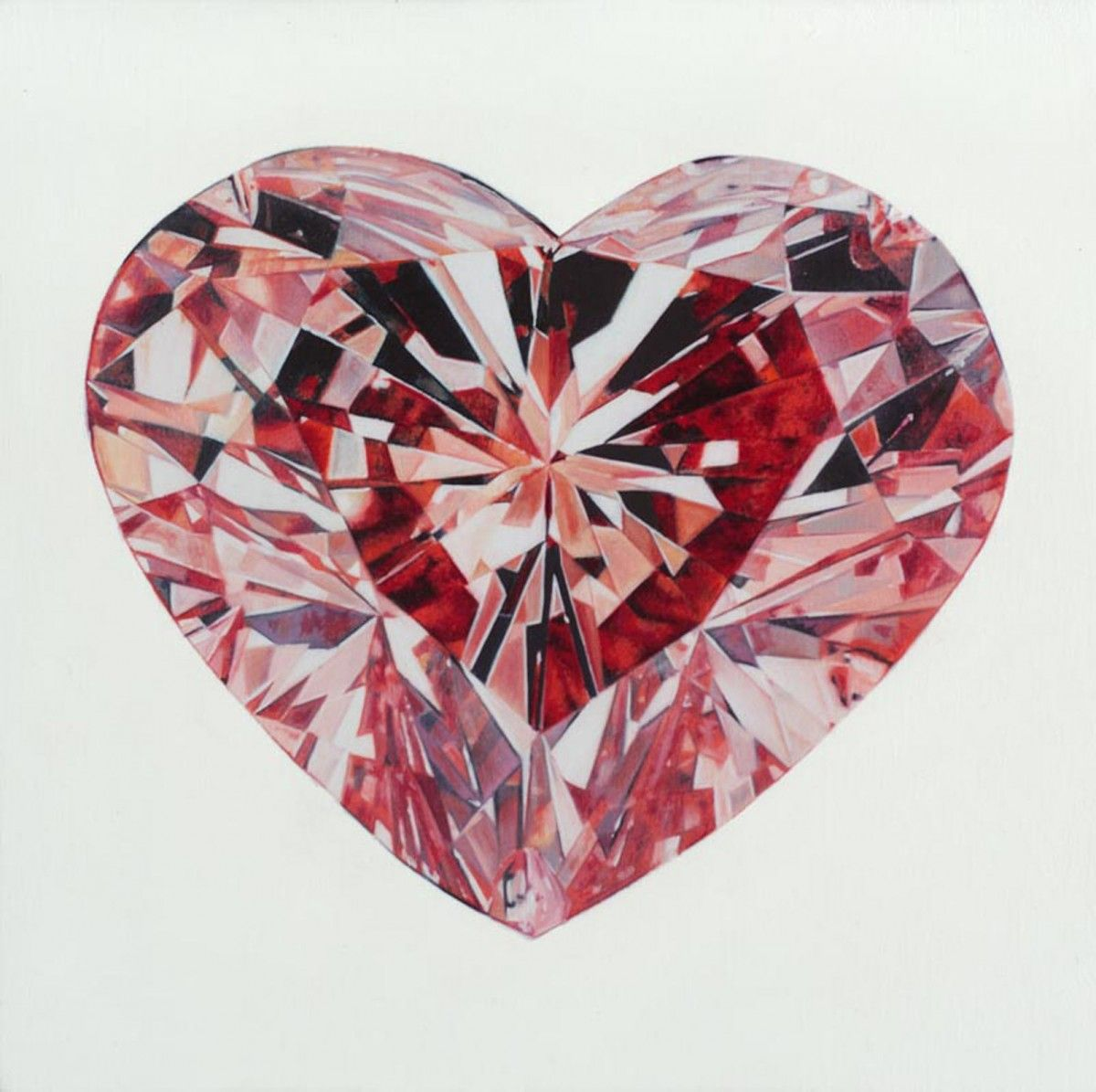 Red Diamond First You Make Your Heart A Stone - Michael Zavros 2007, Oil on Board, 15 x 15cm
