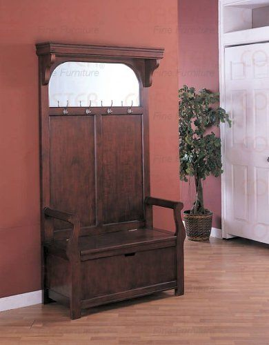 Cherry Entryway Wood Hall Tree Coat Rack Storage Bench with Mirror by Coaster Home Furnishings