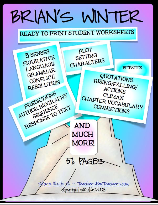 Brian\'s Winter Literature Guide Novel Study | Worksheets, Teacher ...