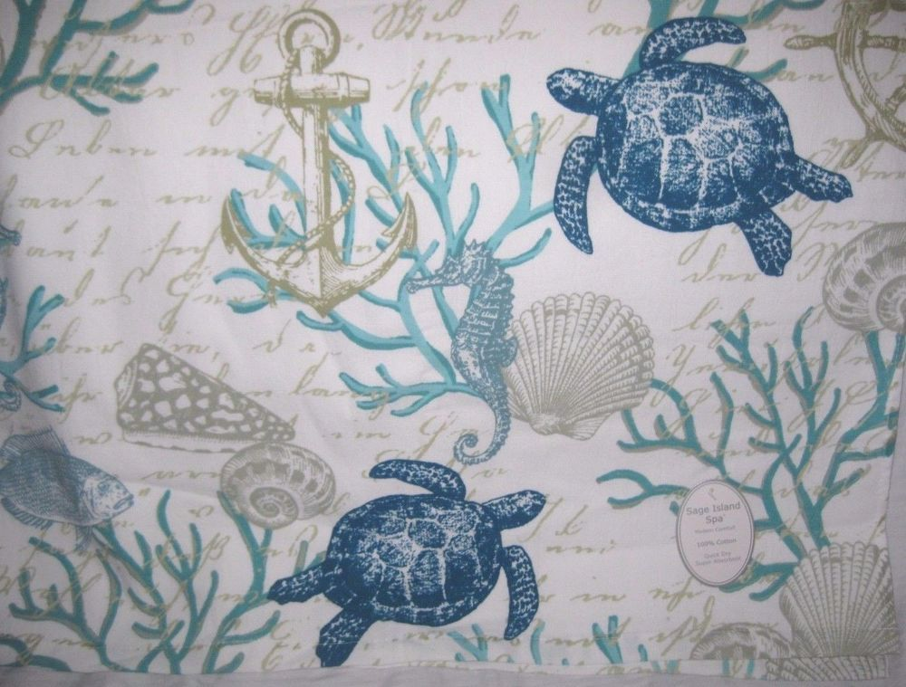 Sage Island Spa Reef Bath Towel Seashell Coral Sea Turtles Fish