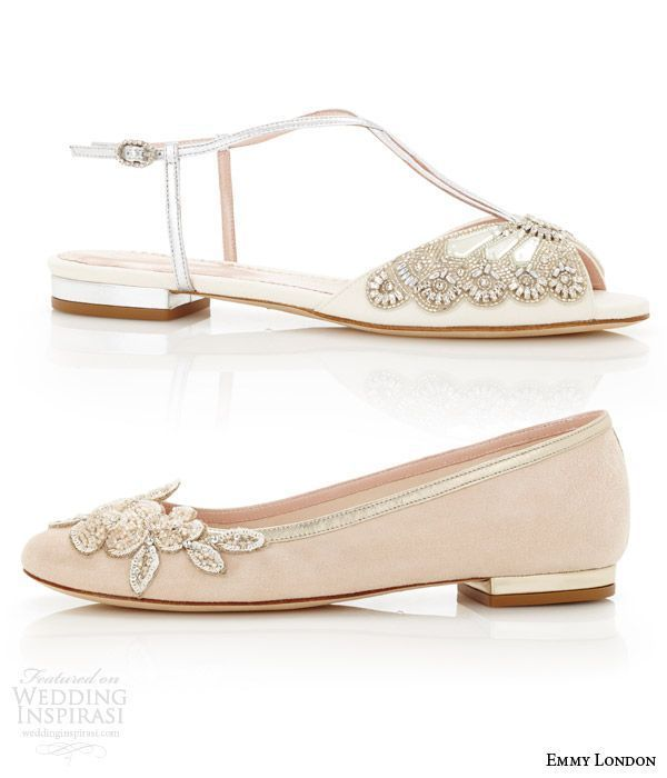 Emmy London Flat Wedding Shoes Low Heel Bridal Carine Blush Ballet Flats Jude Sandal