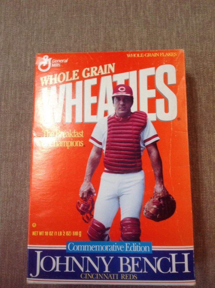 Johnny Bench Wheaties Box Top opened No cereal