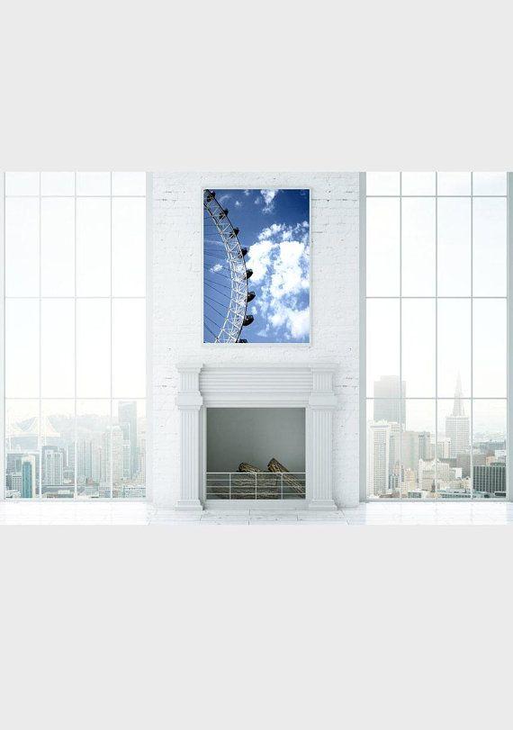 The London Eye Home Decor Cloud Photography Wall Art Print Office Artwork Prints Contemporary City