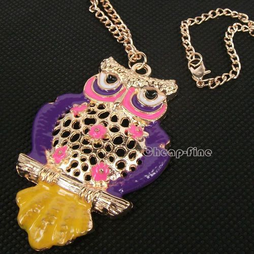 Multi Colore Sweet Purple Owl Branches Bronze Long Chain Necklace Free Shipping | eBay