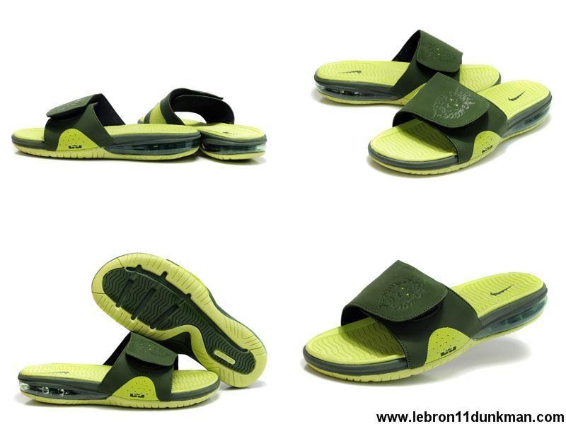 Sale Discount 487332 300 Nike Air Lebron Slides Lime Green Jade Fashion Shoes Store