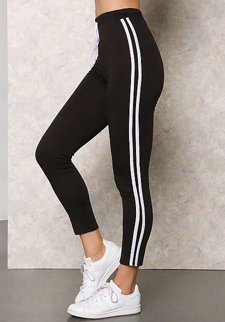 Black Two Stripe Jogger Pants