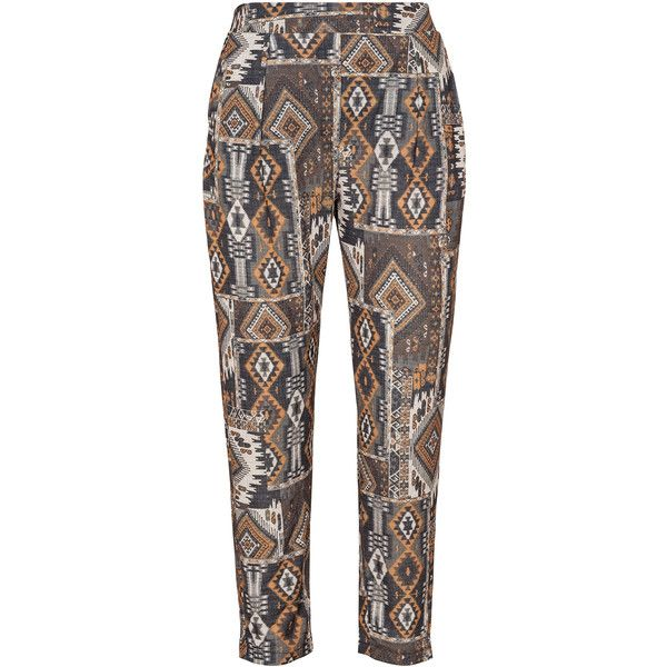 Elvi Orange / Dark-Brown Plus Size Printed tapered jersey trousers ($100) ❤ liked on Polyvore featuring pants, orange, plus size, womens plus pants, wide leg cropped pants, loose fitting pants, elastic waist pants and tapered pants