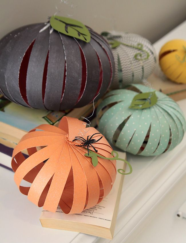These paper strip pumpkins are cute inexpensive