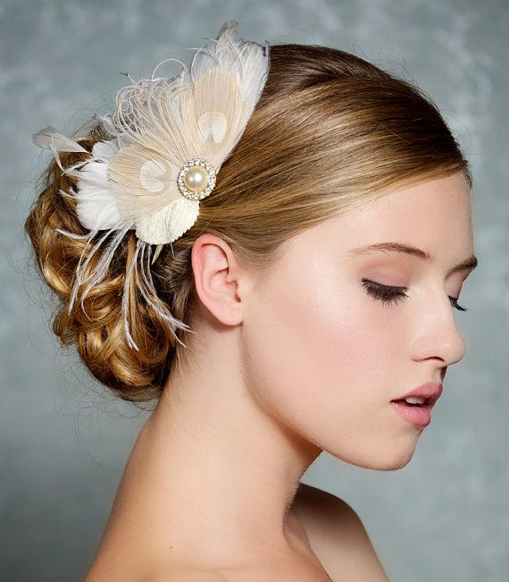 ivory bridal hair accessories champagne peacock feather fascinator wedding hair clip vintage velvet leaves made to order peggy via etsy