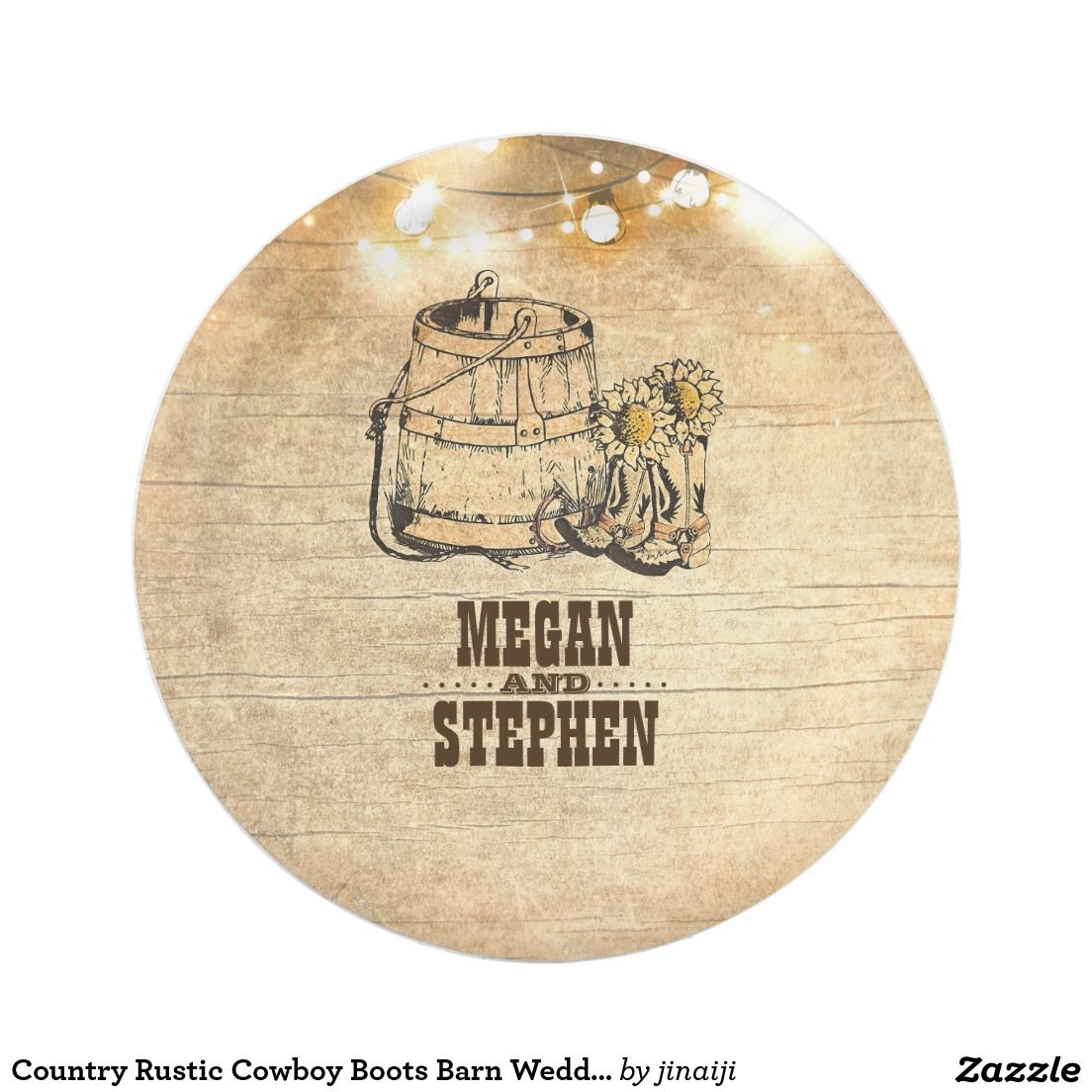Country Rustic Cowboy Boots Barn Wedding Paper Plate | Wedding paper ...