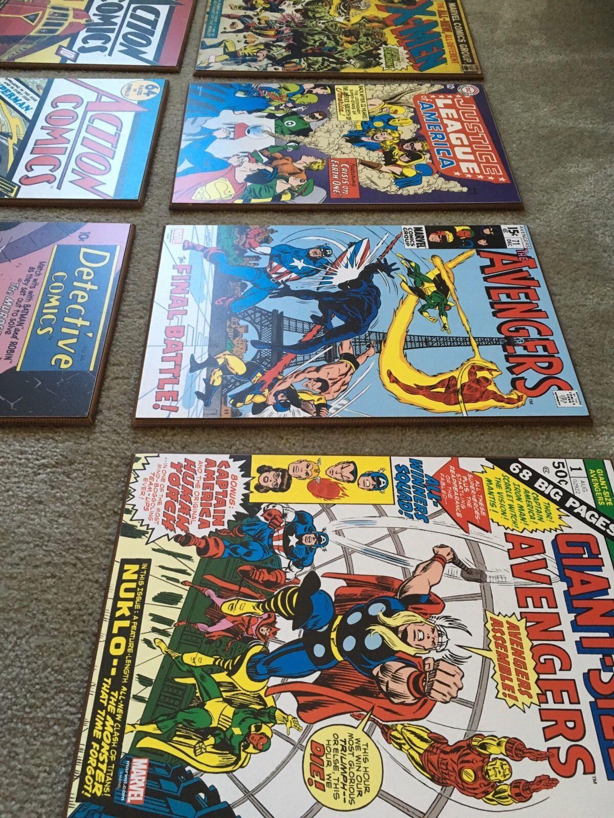 Marvel Wooden Wall Art Comics Lot Batman Avengers Superman Justice