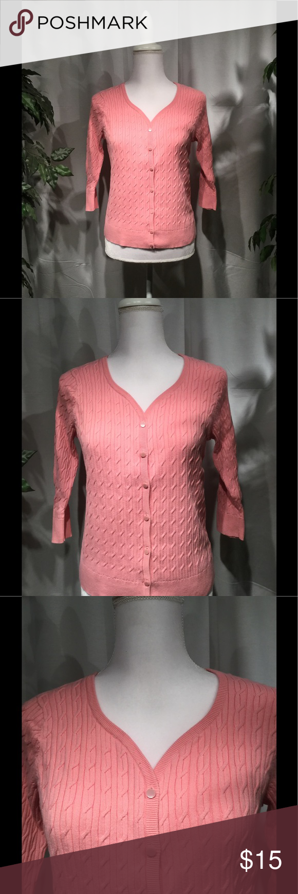 Talbots's Petite M Pink Button Down Sweater Pima Pink Cotton, Pink ...